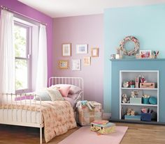 Children's bedroom painted with Crown easyclean paint in Mademoiselle and Bubble Bath Kids Bedroom Paint, Bedroom Paint Colors, Bedroom Decor, Paint Colours, Bedroom Ideas, Fireplace Bookshelves, Bedroom Fireplace, Unused Fireplace, Teenage Girl Bedrooms