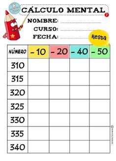 Minihogar Kids. CÁLCULO MENTAL (RESTAS). FICHA 2 2nd Grade Math Worksheets, Third Grade Math, Maths Sums, Kids Study, Math Class, Calculus, School Hacks, Kids Education, Mathematics
