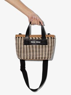 Shop Miu Miu Multicoloured eco leather wicker tote bag from our Tote Bags collection. Browning Logo, Miu Miu, Wicker, Women Wear, Tote Bag, Purses, Leather, Presents, Bags