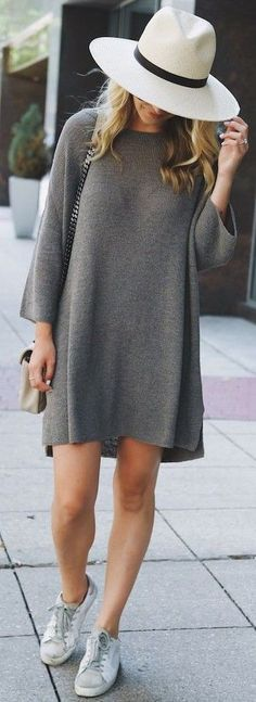 #summer #stylish #outfitideas | Grey Knit Little Dress