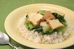 チンゲン菜と厚揚げのあんかけごはん How To Boil Rice, Risotto, Meat, Chicken, Ethnic Recipes, Food, Essen, Meals, Yemek