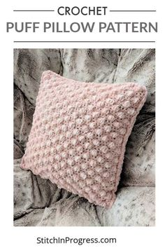 You can crochet this gorgeous pillow with just one skein of yarn. The puff stitch looks great on a pillow and this pattern is easy to whip up and upgrade your home decor with a handmade pillow. crochet pillow One Skein Puff Pillow Pattern One Skein Crochet, Bobble Crochet, Crochet Home, Free Crochet, Beginner Crochet, Blanket Crochet, Crochet Granny, Cushion Cover Pattern, Crochet Cushion Cover