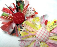 Raggedy fabric (or ribbon) flower tutorial   PDF $6.00 aSundayGirl etsy shop