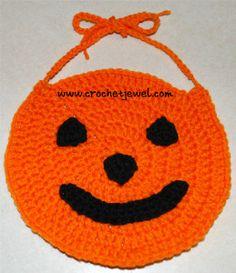 Ravelry: Pumpkin bib pattern by Amy Lehman Crochet Fall, Holiday Crochet, Halloween Crochet, Crochet Cross, Crochet For Kids, Free Crochet, Crochet Pumpkin Pattern, Crochet Patterns, Fall Patterns