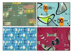 Mid century modern, Barkcloth, mid century art, retro, atomic, boomerang, starburst, mid century love, SET of 4 by RikkiVanCamp on Etsy https://www.etsy.com/listing/119818007/mid-century-modern-barkcloth-mid-century