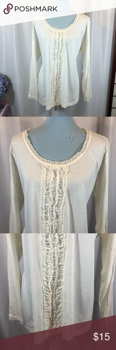 "Tommy Hilfiger Cream Ruffle Front Knit Top, 2X Brand: Tommy Hilfiger Size: 2X Material: 60% Cotton, 40% Modal Condition: Pre-owned in good condition  Approx. Measurements Bust: 49"" Length: 27.5"" Tommy Hilfiger Tops Tees - Long Sleeve"