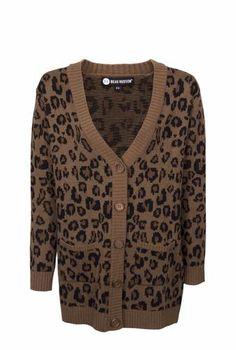 Women's Animal Print Boyfriend Cardigan Brown - Mossimo Supply Co ...