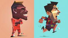 Desenhos de Balotelli e Suárez