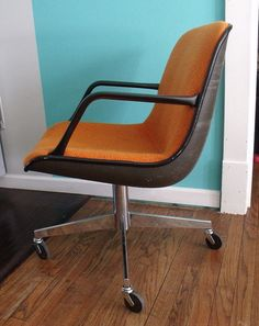 home office makeover pinterest. Items Similar To Vintage Retro Mid Century Orange Pollock Knoll Steelcase  Swivel Shell Rolling Office Chair On Etsy Home Office Makeover Pinterest