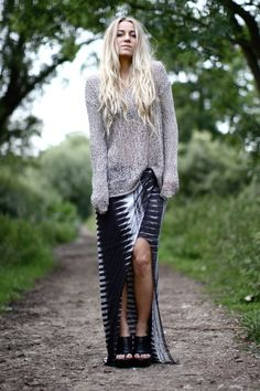 helmut lang sweater and maxi