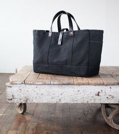 No. 175 Tool / Garden Tote in Black Waxed Canvas & Black Leather