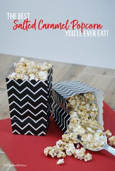 Once you've tried this amazing salted caramel popcorn, you'll never use another recipe. This is seriously the best caramel popcorn ever! Popcorn Recipes, Dessert Recipes, Desserts, Salted Caramel Popcorn, Fun Easy Recipes, Free Recipes, Frozen Party, Frozen Birthday, Gluten Free Treats