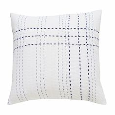 White with Indigo Stitch Cushion (1) – Sally Campbell, Handmade Textiles