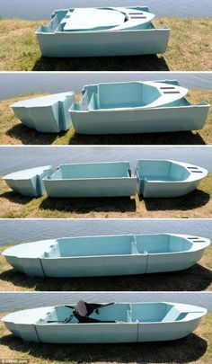 This series of images shows how the three slottable sections of the Stakanoo fit together to form the 19kg portable boat, pictured top.