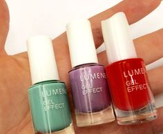 Nail polishes in cute spring shades by blogger Funky and fifty - the mint green shade is called Waves and the lilac one Dewy Lavender. #nailpolish #lumene
