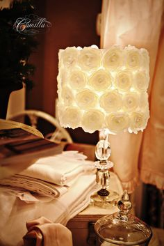 Lamp - The link just goes to the picture but this is the same thing as the mirror (flowers from Hobby Lobby and a glue gun.  They would be nice together.