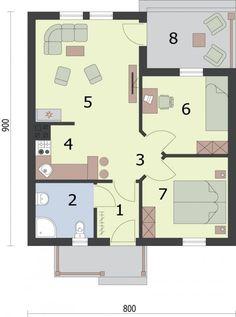 DOM.PL™ - Projekt domu PT SAN ANTONIO dom letniskowy CE - DOM PT1-93 - gotowy koszt budowy San Antonio, Compact House, Small House Design, House 2, Floor Plans, House Ideas, Gallery, Ground Floor, Tiny Houses