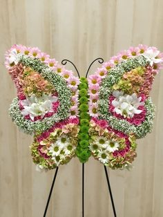 What the caterpillar calls the end of the world the master calls a butterfly. Flowers For Mom, Butterfly Flowers, Funeral Floral Arrangements, Flower Arrangements, Festival Decorations, Flower Decorations, Corona Floral, Cemetery Decorations, Zen Garden Design