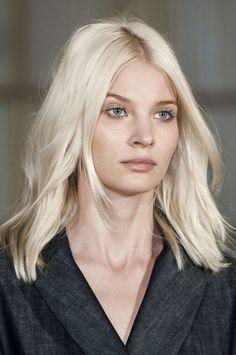 medium length icy blonde hair with light waves