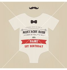 Funny vintage baby birthday invitation vector on VectorStock® ..... Obsessed!