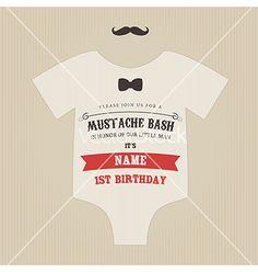 Funny vintage baby birthday invitation vector on VectorStock®