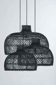 Rattan Bell Pendants by Piment Rouge Lighting Bali Contemporary Bathroom Lighting, Contemporary Light Fixtures, Contemporary Chandelier, Contemporary Design, Wicker Pendant Light, Pendant Lights, Pendant Lamps, Chandeliers, Basket Lighting
