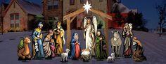 Lifesize nativity lawn display yard art jesus mary joseph wisemen angel shepherd donkey sheep stable creche