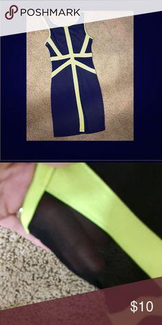 🔥Neon yellow and Black Mini! Super Chic Neon yellow and Black mini with Mesh panels, zip closure along the back, no flaws EUC Dresses Mini