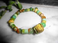 Peruvian Opal Bead Ancient Hebron Bead African Opal Fire Agate Primitive Clay Bead Stretch Bracelet by StonyMaronyJewelry on Etsy