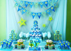 Our little squirt + whale 1st birthday party idea via Kara's Party Ideas - www.karaspartyideas.com