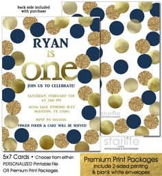 "Navy Blue and Gold Boy 1st Birthday Invitation, Polka Dots, Glitter, any age featuring simulated Gold Foil and Gold Glitter - ANY Birthday age ►Glitter & Foil are NOT real - they are a graphic simulation that will print out to ""look like"" them CHOICE OF PERSONALIZED DIGITAL FILE (you print option) OR PRINTED PACKAGE"