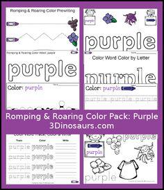 Free Romping & Roaring Color Pack Purple - - 8 pages of activities focused… Kindergarten Colors, Preschool Colors, Teaching Colors, Free Preschool, Preschool Printables, Preschool Lessons, Kindergarten Reading, Preschool Classroom, Preschool Learning