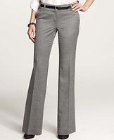 """Modern Sharkskin Trousers - Meticulously tailored and fabulously fitted, this must-have pair is crafted in smooth sharkskin with a hint of stretch for flawless all-day wear. Sits low on the waist. Our more lean fit, lean through the hip and thigh with a slight ease at the back. Curtain waistband offers extra tailoring detail for a better fit. Contoured waistband. Front zip with double hook-and-bar closure. Belt loops. Front off-seam pockets. Back besom pockets. Lined. 33"""" inseam."""