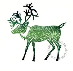 "Original lino cut print ""Caribou - Northern Lights, Handprinted by A.Deegan"