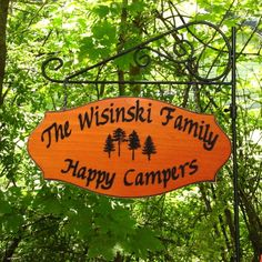 RV Camping Location Sign - Custom Carved RV Camping Sign - Includes Flag Holder. $62.00, via Etsy.