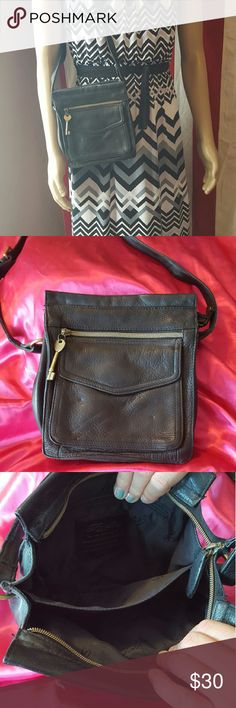 """Vintage Fossil Purse Long adjustable shoulder strap. All soft leather. Front button and zip pockets. Interior separator and interior zip pocket. 6.5"""" long, 6.5"""" tall to zipper, 2.5"""" wide. Fossil Bags Shoulder Bags"""