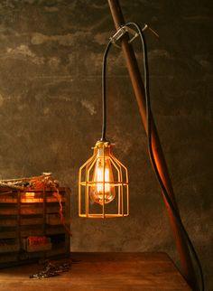 Lighting Lamp Hanging Light Lamp Cage Light by LukeLampCo on Etsy, $149.00