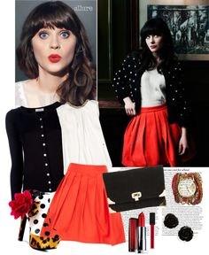 """""""Zooey Deschanel"""" by samar-fashion ❤ liked on Polyvore"""