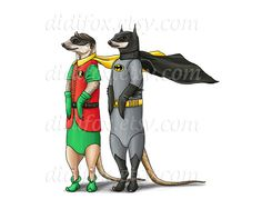 Batmen and Robin  Meerkats  Fashion Printable Digital by DidiFox