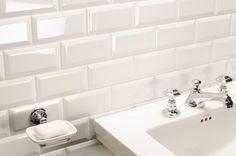 Metro white close-up. White Beveled Subway Tile, White Bathroom Tiles, White Tiles, Kitchen Tiles, Subway Tiles, Bathroom Wall, Metro Tiles, U Bahn, Bathrooms