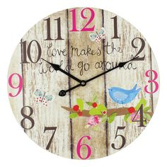 Large Colorful Round Wooden Effect Wall Clock – 40cm
