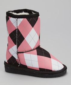 Another great find on #zulily! Pink & Black Argyle Loudmouth Boot by DAWGS #zulilyfinds
