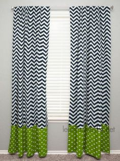 Curtain Panel with Banding  Navy Chevron Lime by leahashleyokc, $60.00
