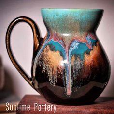 Mug by Amanda Joy Wells of Sublime Pottery Pottery Mugs, Pottery Ideas, Ebay Auction, Tea Bowls, Gourd Art, Mug Cup, Ceramic Mugs, Sculpture Art, Blue Lagoon