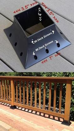 QuickMount 4 X 4 post support flange for permanent or temporary hand fence deck porch railing or post mounting Heavy Duty High Impact ABS Plastic Provides Immense Strengt. Diy Deck, Diy Pergola, Pergola Kits, Pergola Ideas, Deck Railing Ideas Diy, Cheap Pergola, Pergola Images, Porch Ideas, Terrasse Design