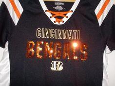 "CINCINNATI BENGALS ""Draft Me"" Women's NFL Football Tee T-shirt Sequins L Black #NFLTeamApparek #CincinnatiBengals"