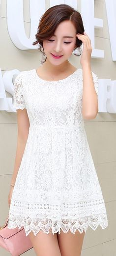 Short Sleeve White Embroidered Lace Dress YRB0649