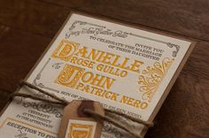 Eco Friendly Letterpress Wedding Invitation - Vintage Apothecary