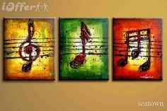 3 canvases music notes