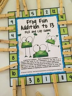 FREEBIE - Addition Pick and Clip Math Games Freebies by Games 4 Learning. These are 2 player addition games and players use clothespins to clip their addition equations.